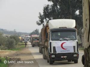 من الإنترنت - مساعدات الهلال الأحمر إلى مخيمات النزوح