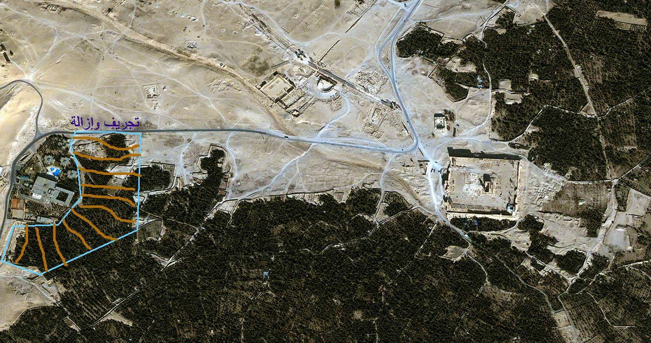 التجريف في محيط مقر ميليشات الدفاع الوطني – فندق تدمر (الديديمان -الشام سابقاً)