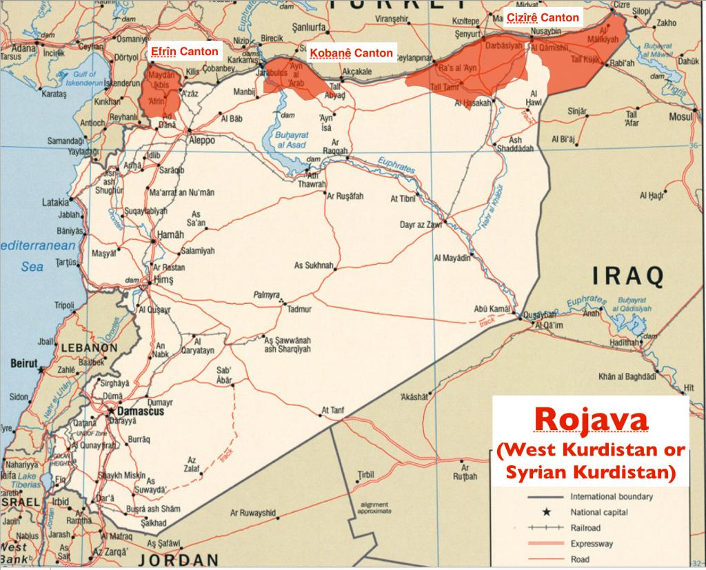 خريطة المناطق الكردية في سوريا بحسب المصادر الكردية