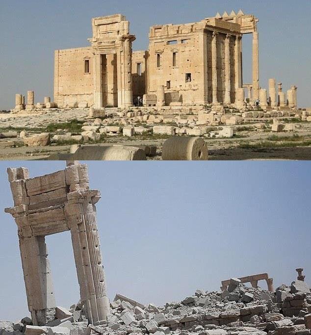 معبد بل قبل وبعد تفجير داعش له