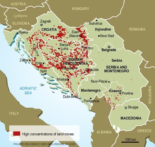 خريطة حقول الألغام في منطقة البلقان