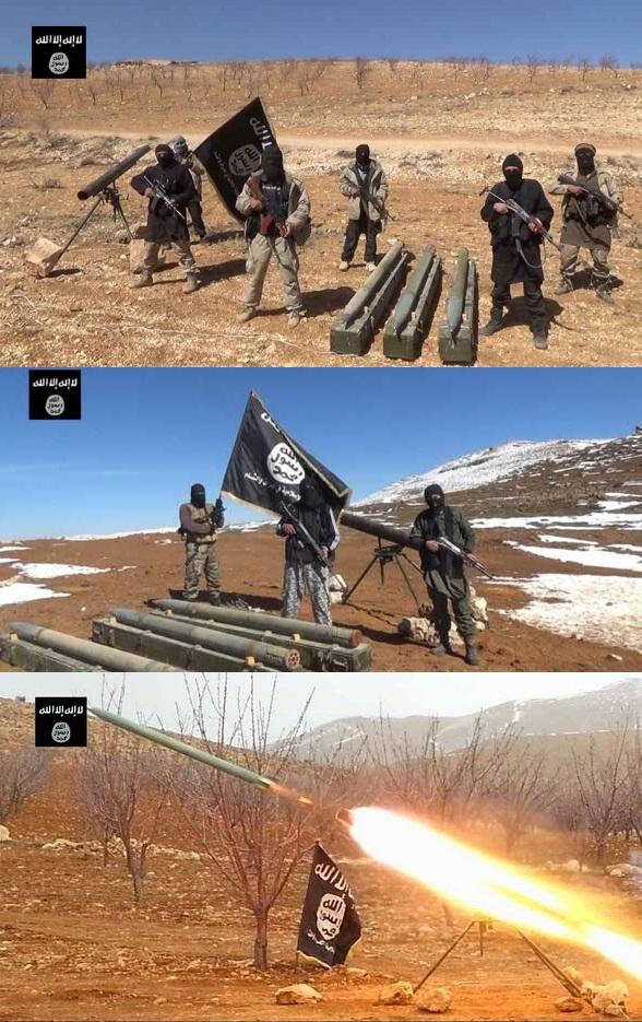 صور نشرها داعش تظهر حيازته واستخدامه منصات غراد ب في مختلف مناطق سيطرته بسوريا