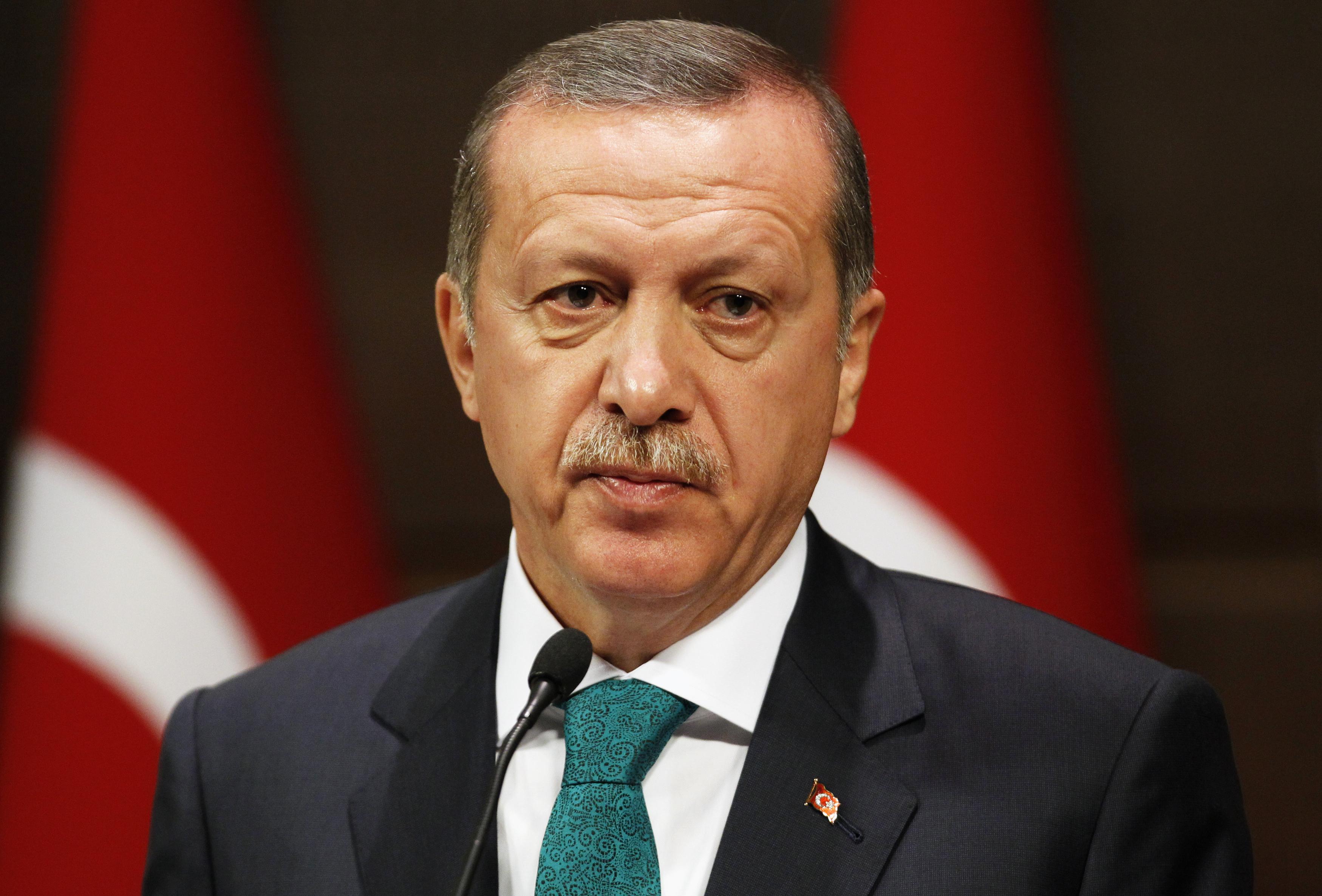Turkish PM Erdogan addresses the media in Ankara