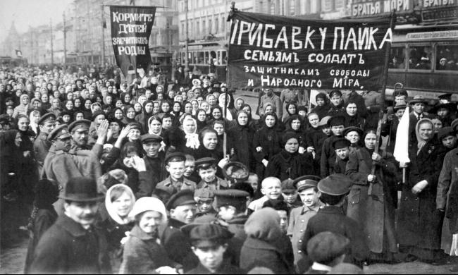 تظاهرة للنساء الروسيات في يوم المرأة عام 1917