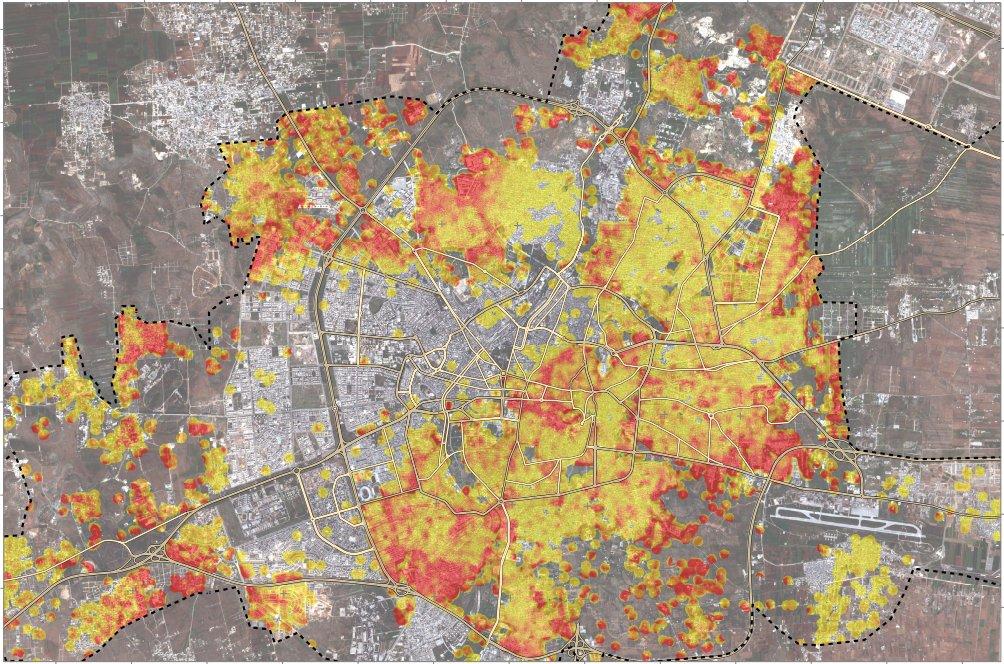 خارطة توضيحية أصدرها معهد الأمم المتحدة للأبحاث توضح توزع نسبة الدمار في مدينة حلب